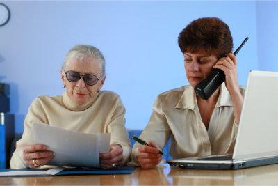 Two elder woman communicating